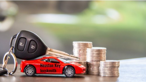 a control car key on top of a red car with Houston key locksmith sign. next to dollar coins suggesting how much a locksmith cost